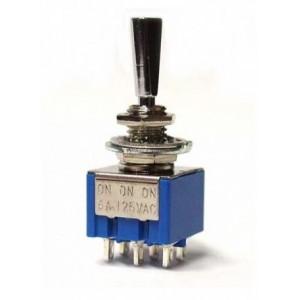 Goldo Mini Switch On-On-On DPDT Nickel